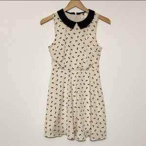 One Clothing cream and black bow print dress